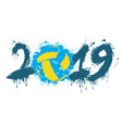 number 2019 and a volleyball ball from blots vector image
