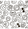 pattern with emotional hand drawn faces vector image vector image