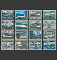 planes fly aircraft flight aviation academy retro vector image