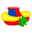 plastic colorful winded up toy ship isolated vector image