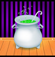 realistic halloween witch s cauldron pot with vector image