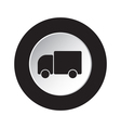 round black and white button - lorry car icon vector image vector image