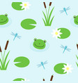 seamless pattern with cute frogs and dragonflies vector image vector image