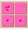 Set of cards with pink valentines day design vector image