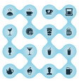 set of simple cafe icons vector image vector image