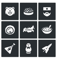 set russia icons bear caviar soldier vector image vector image