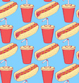 Sketch hotdog and soda in vintage style vector image