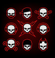 skull logo set on a dark background vector image vector image