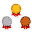 sport award medal gold silver bronze sport 1st 2nd vector image vector image