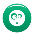 surprised smile icon green vector image vector image