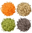 Various types of lentils piles set vector image