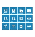 Video icons on blue background vector image