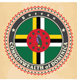 Vintage label cards of Dominica flag vector image vector image