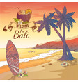 welcome to bali background vector image vector image