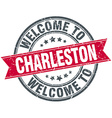welcome to Charleston red round vintage stamp vector image vector image