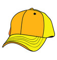 yellow cap on white background vector image vector image