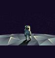 astronaut on the polygonal moon surface vector image