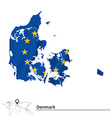Map of Denmark with European Union flag vector image