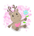 cute deer with hearts cartoon vector image