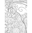 adult coloring bookpage a cute unicorn on the vector image vector image