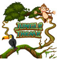 animals in jungle theme vector image