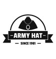 army hat logo simple black style vector image vector image