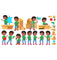 black afro american boy kindergarten kid poses vector image vector image