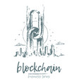 business blockchain chains big city skyline vector image