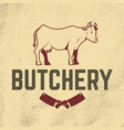 butchery cow on grunge background meat cleaver vector image vector image