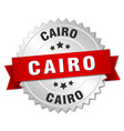 Cairo round silver badge with red ribbon vector image vector image