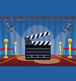 cinema entertainment with clapperboard and lamps vector image vector image