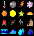 Climate icons on black background vector image