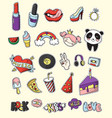 colored fashion patch badge set vector image vector image