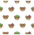 Cute bear with a cap seamless baby pattern vector image