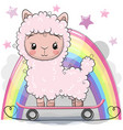 cute cartoon alpaca with skateboard vector image vector image