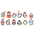 cute holiday penguins christmas hand drawn vector image