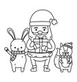 cute santa rabbit and squirrel with gift merry vector image vector image