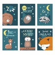 cute sleeping wild animals card set vector image vector image