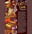 fast food restaurant banner with junk meal sketch vector image vector image