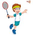 funny boy cartoon playing badminton vector image vector image