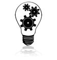 Gears inside lightbulb vector image vector image