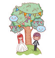 girl and boy marriage with kawaii clouds and trees vector image