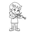 girl practicing music with her violin bw vector image vector image