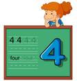 girl showing number four on chalkboard vector image