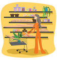 girl with shopping carts in supermarket vector image