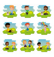 group of happy kids in the park scene characters vector image vector image