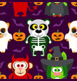 halloween background seamless with animal vector image vector image