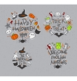 Halloween flat monograms gray vector image