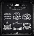 hand-drawn collection cakes vector image vector image