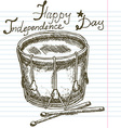Hand drawn sketch drum text happy independence day vector image vector image